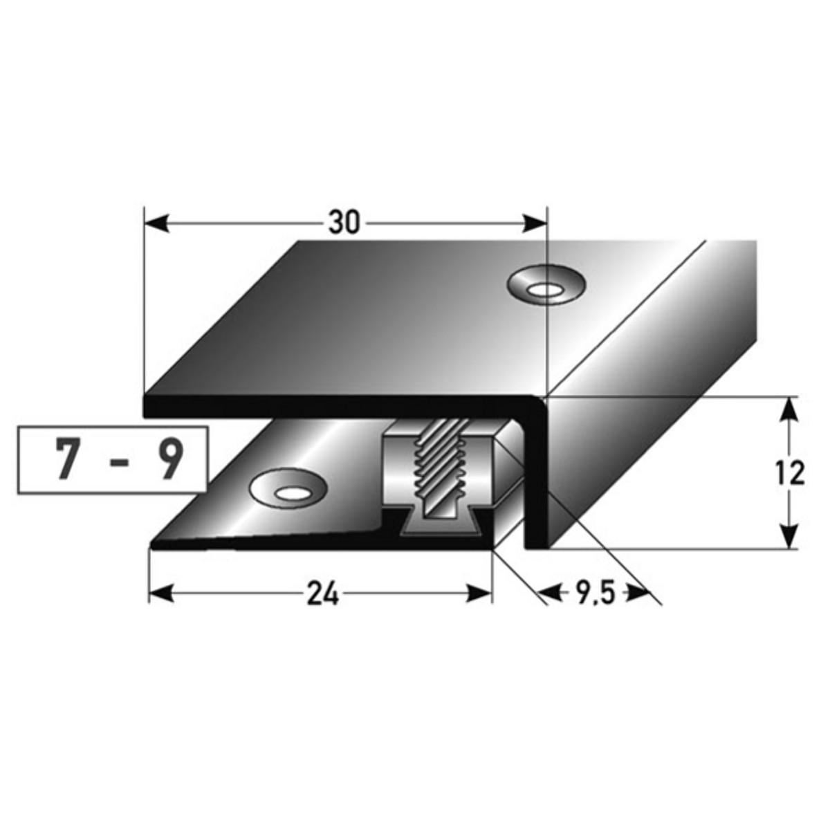 Abschlu/ßprofil Alu eloxiert edelstahl 1 m SB